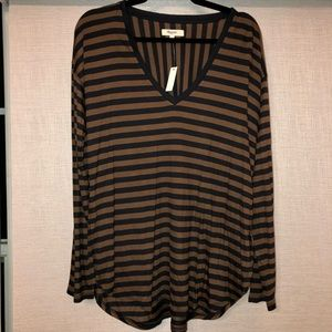 Madewell Anthem Long Sleeve V-neck Tee Striped Top
